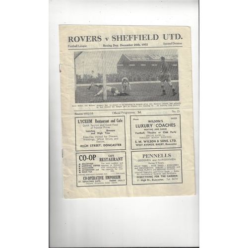 1952/53 Doncaster Rovers v Sheffield United Football Programme