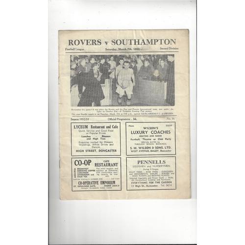 1952/53 Doncaster Rovers v Southampton Football Programme