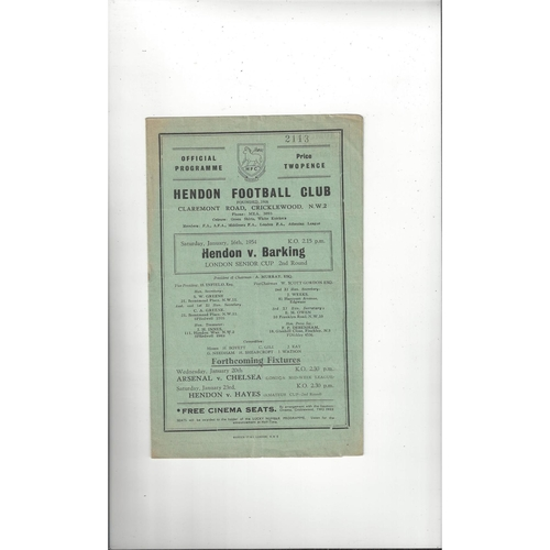 1953/54 Hendon v Barking London Senior Cup Football Programme