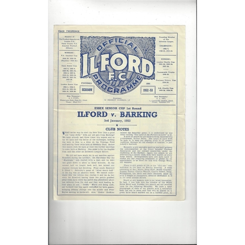 1952/53 Ilford v Barking Essex Senior Cup Football Programme