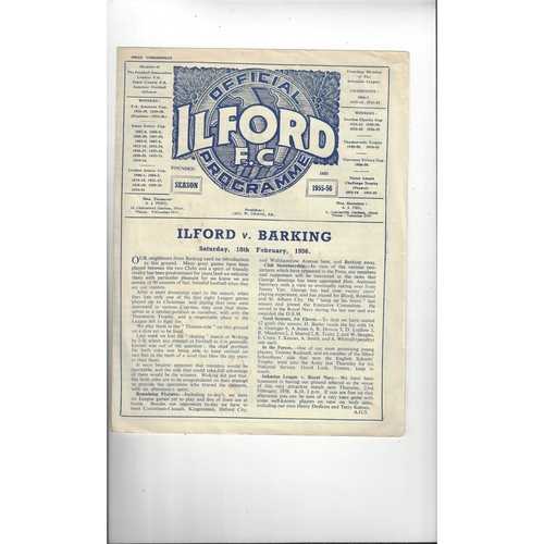 1955/56 Ilford v Barking Football Programme