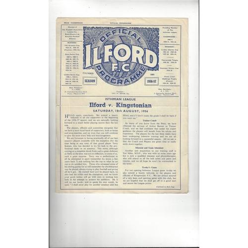 1956/57 Ilford v Kingstonian Football Programme