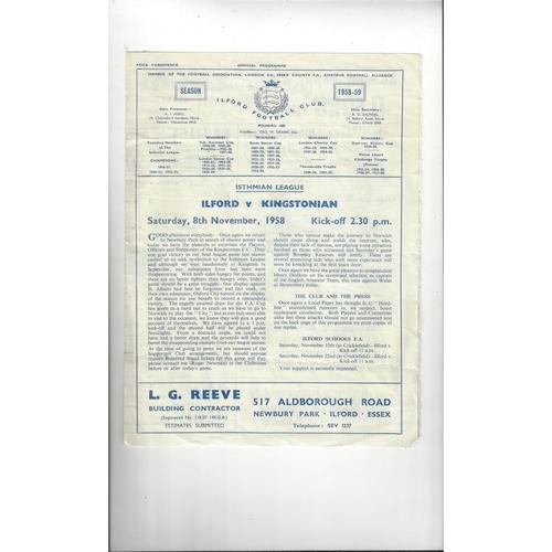 1958/59 Ilford v Kingstonian Football Programme