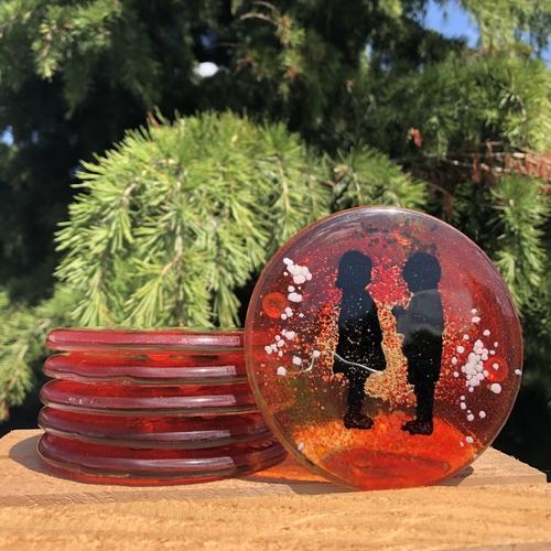 Little People - Orange Coasters (Round)