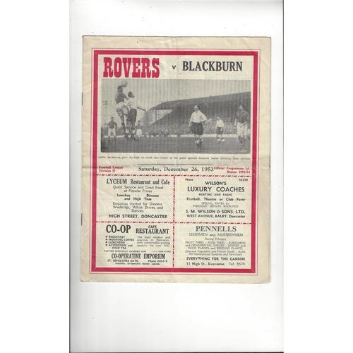 1953/54 Doncaster v Blackburn Rovers Football Programme
