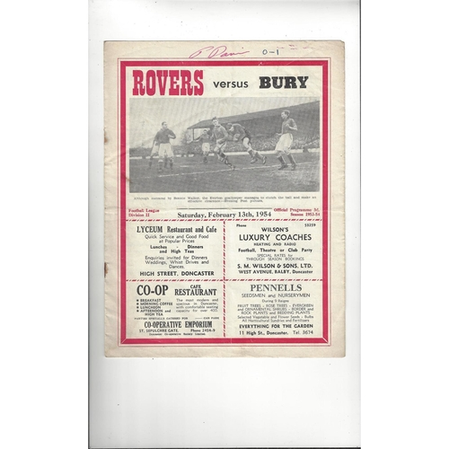1953/54 Doncaster Rovers v Bury Football Programme