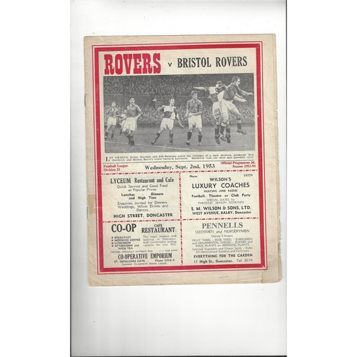 1953/54 Doncaster Rovers v Bristol Rovers Football Programme