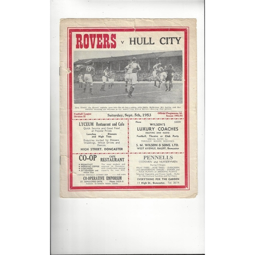 1953/54 Doncaster Rovers v Hull City Football Programme