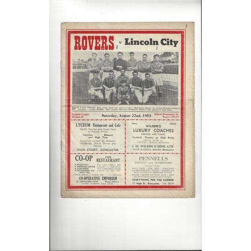 1953/54 Doncaster Rovers v Lincoln City Football Programme