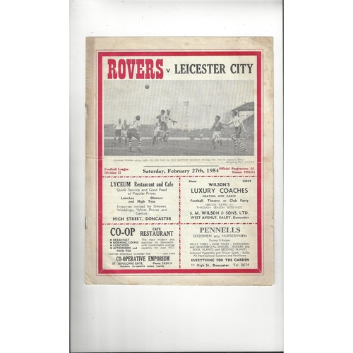 1953/54 Doncaster Rovers v Leicester City Football Programme