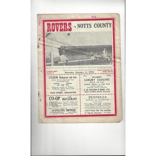 1953/54 Doncaster Rovers v Leeds United Football Programme