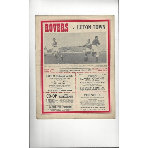 1953/54 Doncaster Rovers v Luton Town Football Programme