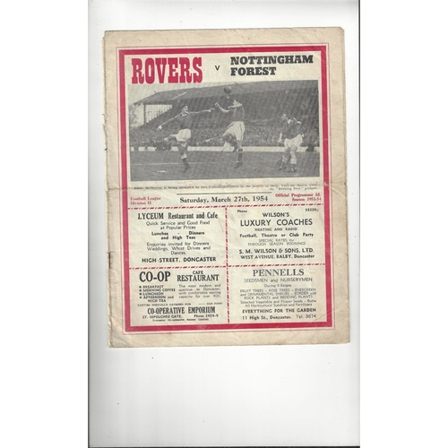 1953/54 Doncaster Rovers v Nottingham Forest Football Programme