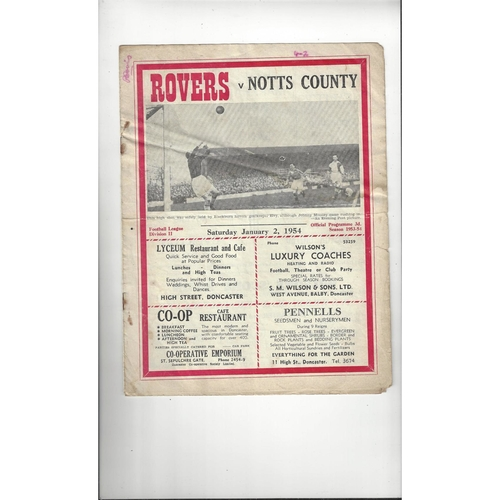 1953/54 Doncaster Rovers v Notts County Football Programme