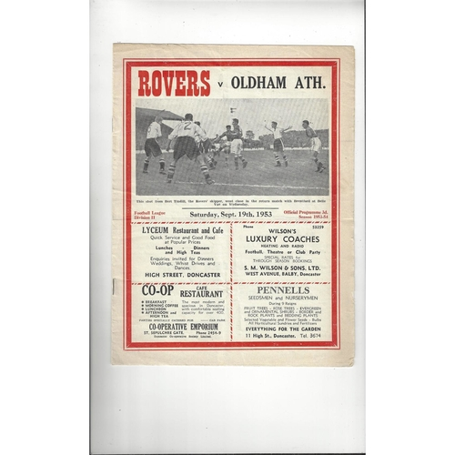 1953/54 Doncaster Rovers v Oldham Athletic Football Programme