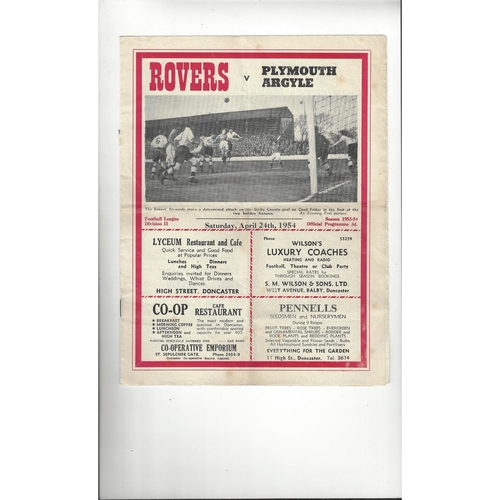 1953/54 Doncaster Rovers v Plymouth Argyle Football Programme