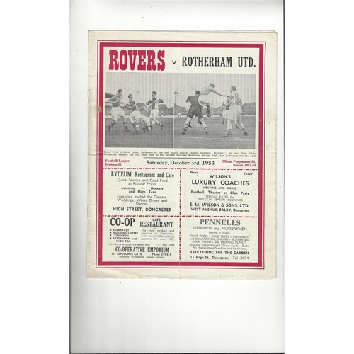 1953/54 Doncaster Rovers v Rotherham United Football Programme