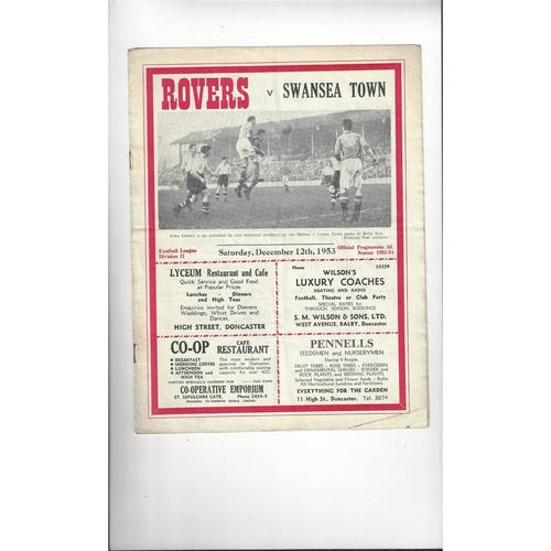 1953/54 Doncaster Rovers v Swansea Town Football Programme