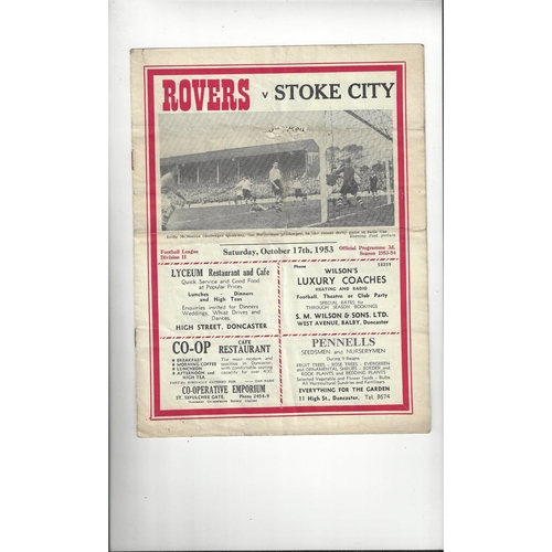 1953/54 Doncaster Rovers v Stoke City Football Programme