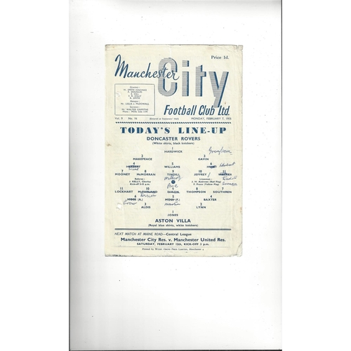1954/55 Doncaster Rovers v Aston Villa 2nd Replay Football Programme @ Manchester City