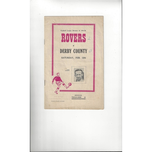 1954/55 Doncaster Rovers v Derby County Football Programme