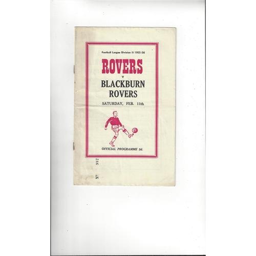 1955/56 Doncaster Rovers v Blackburn Rovers Football Programme
