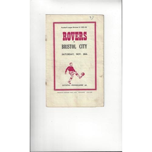 1955/56 Doncaster Rovers v Bristol City Football Programme