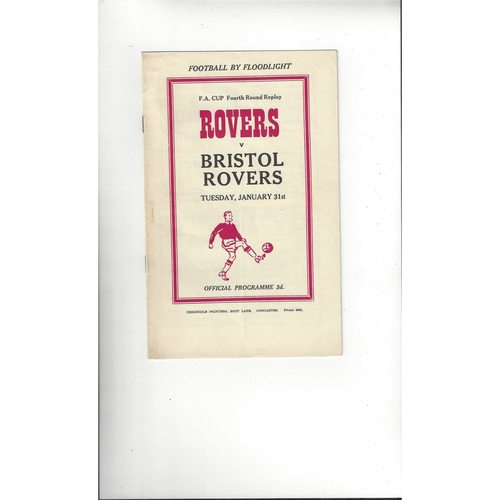 1955/56 Doncaster Rovers v Bristol Rovers FA Cup Replay Football Programme