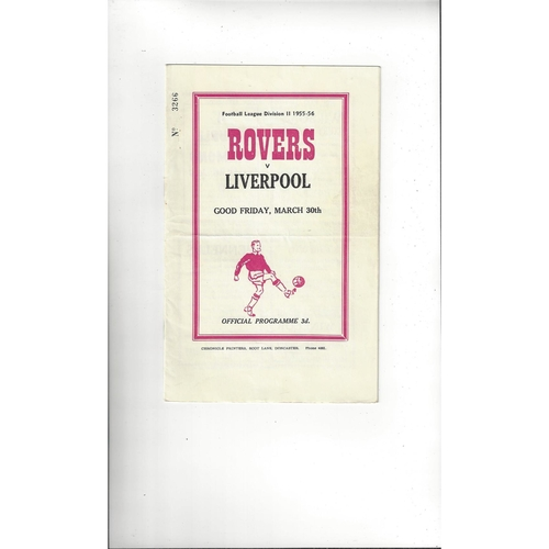1955/56 Doncaster Rovers v Liverpool Football Programme