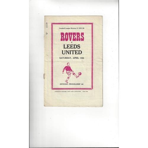 1955/56 Doncaster Rovers v Leeds United Football Programme