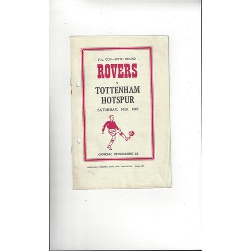 1955/56 Doncaster Rovers v Tottenham Hotspur FA Cup Football Programme
