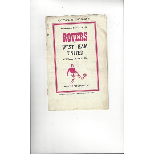 1955/56 Doncaster Rovers v West Ham United Football Programme