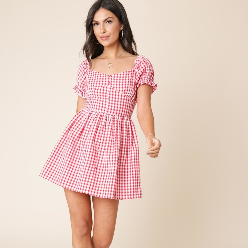 Red and White Gingham Puff Sleeve Milkmaid Mini Dress