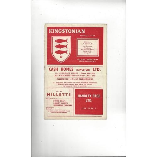 1956/57 Kingstonian v Romford Football Programme