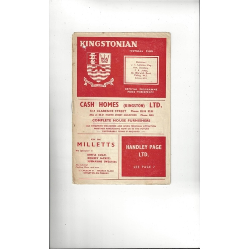 1957/58 Kingstonian v Leytonstone Football Programme