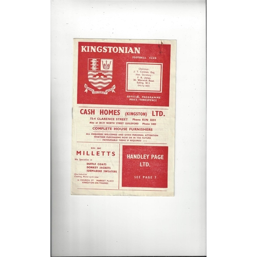 1957/58 Kingstonian v Malden Town Surrey Senior Cup Football Programme