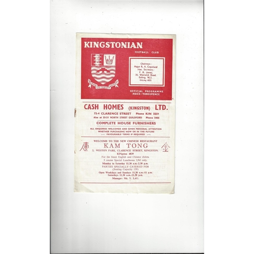 1959/60 Kingstonian v Woking Football Programme