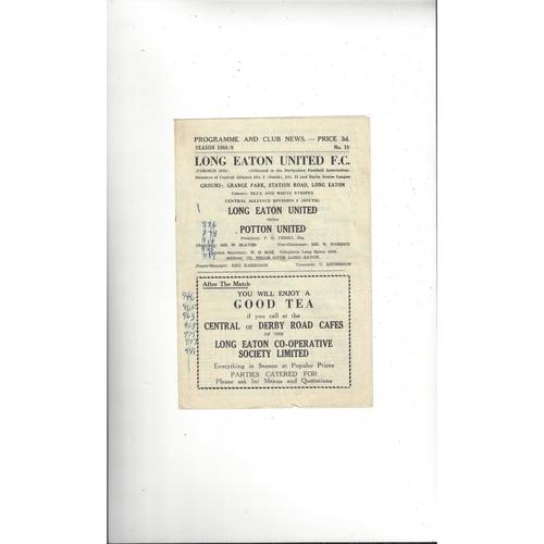 1958/59 Long Eaton United v Potton United Football Programme