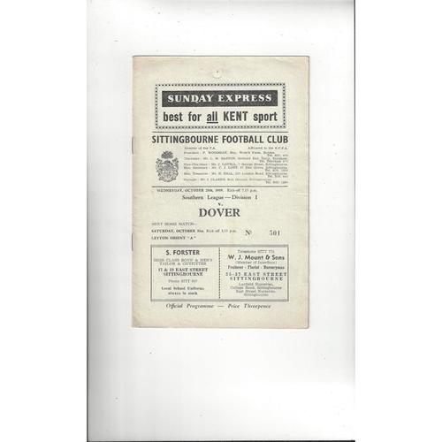 1959/60 Sittingbourne v Dover Football Programme