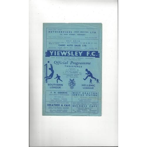 1958/59 Yiewsley v Cambridge United Football Programme