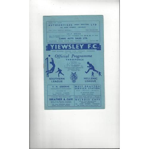 1958/59 Yiewsley v Dartford Football Programme