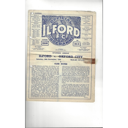 1954/55 Ilford v Oxford City Football Programme