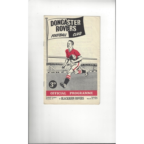 1956/57 Doncaster Rovers v Blackburn Rovers Football Programme