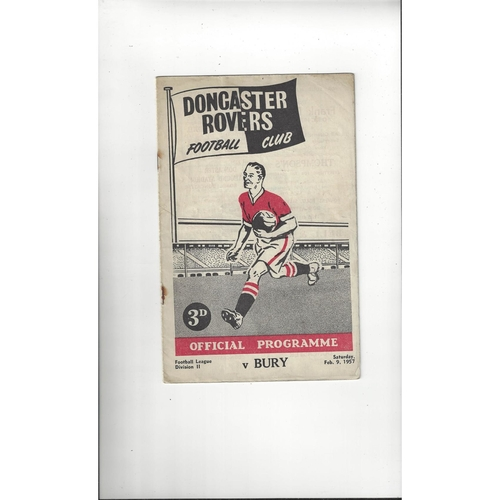 1956/57 Doncaster Rovers v Bury Football Programme