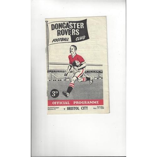 1956/57 Doncaster Rovers v Bristol City Football Programme