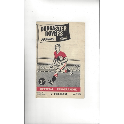 1956/57 Doncaster Rovers v Fulham Football Programme