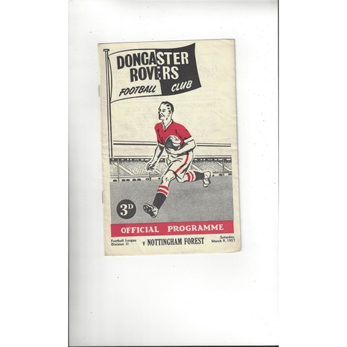 1956/57 Doncaster Rovers v Nottingham Forest Football Programme