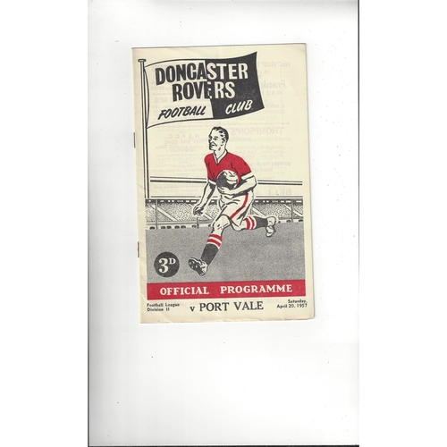 1956/57 Doncaster Rovers v Port Vale Football Programme