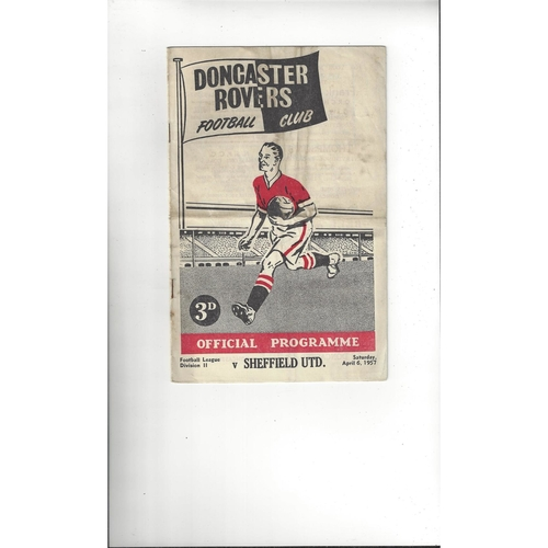 1956/57 Doncaster Rovers v Sheffield United Football Programme