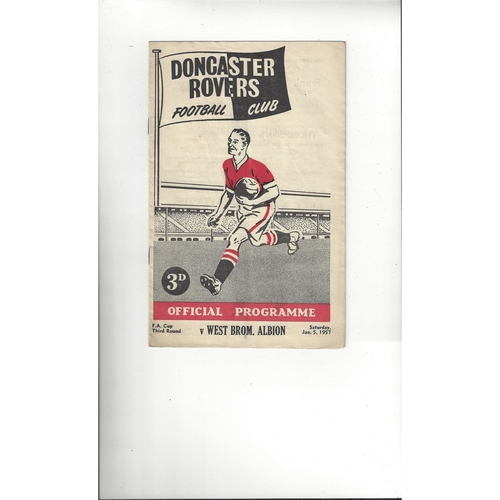 1956/57 Doncaster Rovers v West Bromwich Albion FA Cup Football Programme